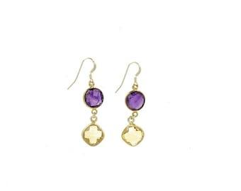 Earrings gemstone citrine and Amethyst