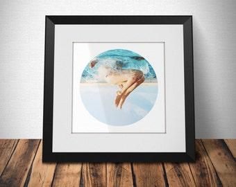 Minimalist Photography - Bright tones - Jumping girl - Upside Down - Wall Art - Hipster -  Pool - Minimal - Funny - Summer - HQ Print