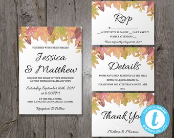 fall wedding invitation template suite autumn leaves printable invitation autumn wedding fall - Fall Themed Wedding Invitations