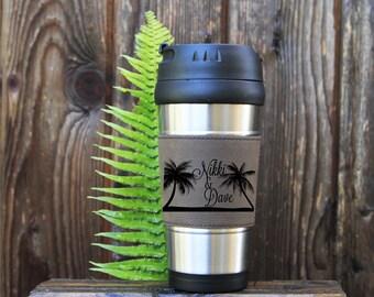 Travel mug, Leather Travel Mug, Leather Coffee Mug, Personalized Travel Mug, Personalize Coffee Mug, Coffee Mug, Customized, Island vacation