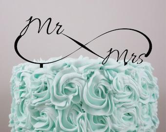 Wedding Cake Topper, Personalized Cake Topper, Love cake topper, Infinity, Cake Topper, Acrylic Cake Topper, Mr & Mrs.
