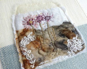 holding together, small unframed art, mini textile art, mini embroidery, mixed fabric art