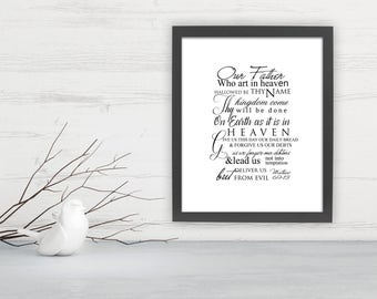 The Lord's prayer typography, Lord's Prayer wall art, Inspirational wall art, Our Father in heaven word art print