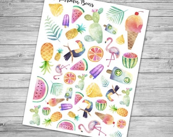 Watercolor Summer Stickers for Planners - Flamingo, popsicles, pineapple, Cactus