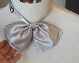 Women Bow Tie,  Satin Bow Tie, SILVER, with Adjustable Strap