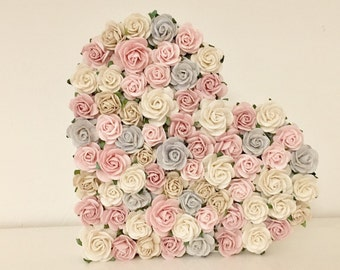 Freestanding Grey, Pink & Ivory Floral Heart - Bespoke - 15cm - Gift - READY TO SHIP