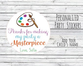 Personalized Painting Party Favor Tags Artist Art Party Favor Birthday Party Favors Goodie Bag Thank You Tags Stickers Lables Choose Size