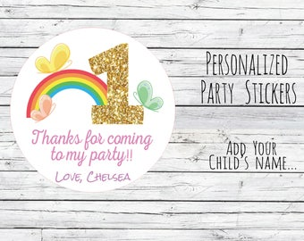Custom Rainbow Butterfly 1st Birthday Party Favor, Favor Tags, Thanks for Coming Gold Number, Glitter, Birthday Stickers, Gold Choose Size