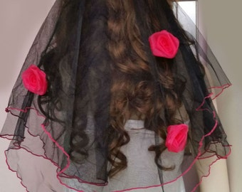 Black & Hot Pink Rose Bridal Veil or Girls Night Out Party Veil ~ Australian Made ~ Clearance  SALE ITEM ~ One Only on Sale