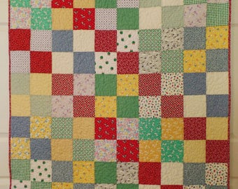 Handmade Baby Quilt, Baby Boy or Girl Quilt, Thirties Patchwork Quilt, Traditional Crib Quilt, Rainbow Quilt, Baby Bedding