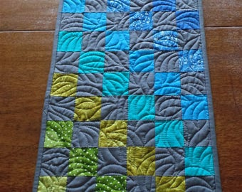 Quilted Table Runner, Modern Table Runner, Blue, Gray, and Green Table Runner, House Warming or Wedding gift, Dining Decor