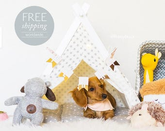 Dog teepee - white with gray stars (Standard size) Oh yes, FREE worldwide shipping.
