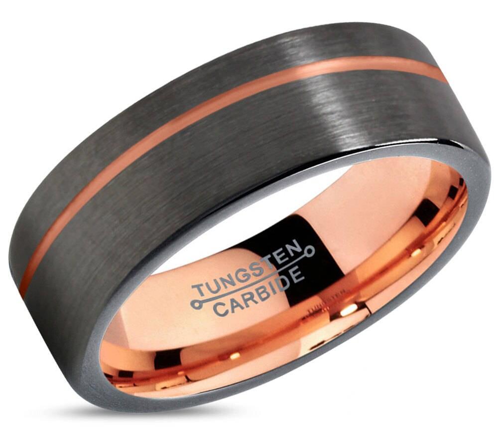 GUNMETAL Tungsten Ring Rose Gold Black Wedding Band Ring Tungsten