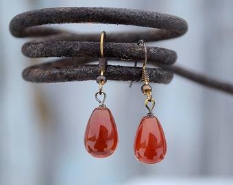 Red agate earrings, Teardrop agate earrings, Agate earrings, Red agate drop earrings, Earrings red agate, Agate drop earrings.
