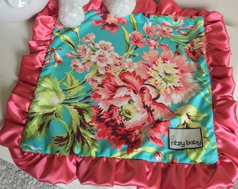 Coral Floral Travel Lovey, Floral Baby Lovey, Travel Blanket, Night Night Blankets, Take to Grandma Blankets, Silky Satin