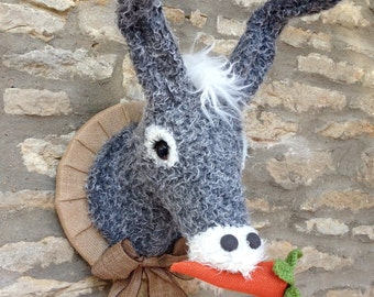 Handmade donkey head faux taxidermy grey and cream with carrot and straw hat wall mounted animal head trophy