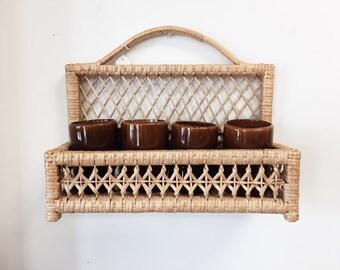 Wicker Shelf / Vintage Wicker Wall shelf / Wicker Wall Shelf / Brown Wall Shelf