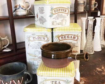 Retro 4 piece canister set / vintage kitchen container set / yellow canister set / flour sugar coffee tea canister set