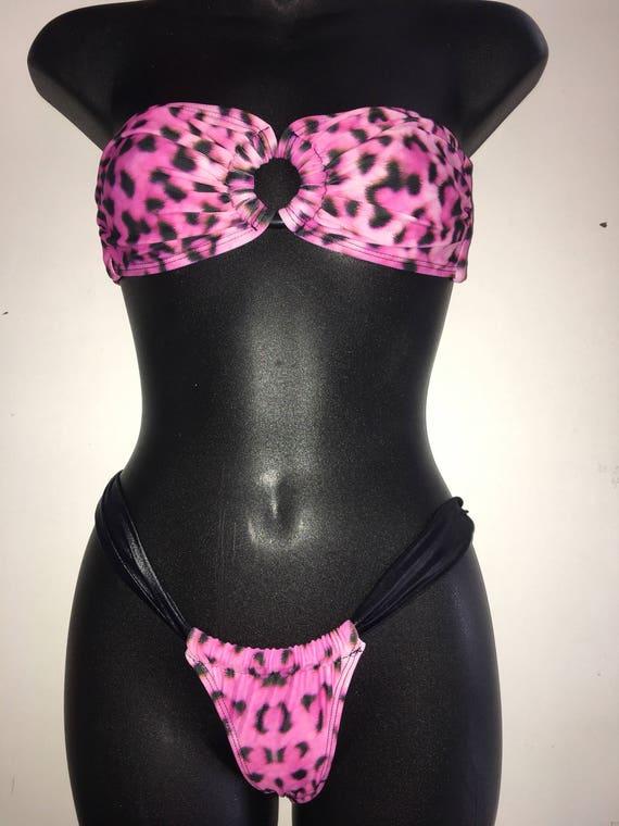SALE*** MissManeater ONEofaKIND ring front bandeau top + sliding soft band super low boutique bikini pant *** BRAZILIAN cut!