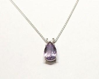 Amethyst & Sterling Silver Pendant - Pear shape