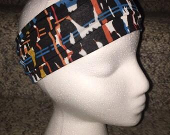 Stretchy Thick Headband/Sweatband that Stays Put. Digital Black Colorful Print