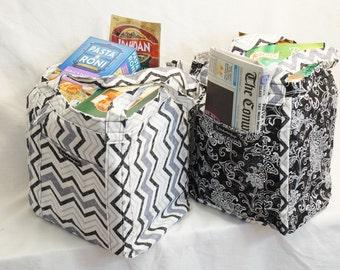 Market Totes/Tote Bag Set/Handmade Totes/Black And White Totes/Reusable Totes/Tote Bags/Market Bags/Eco-Friendly Totes/USA Tote Bag/Set of 2