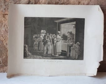 Early 19th Century French Etching of Galette Seller, Philibert-Louis Debucourt