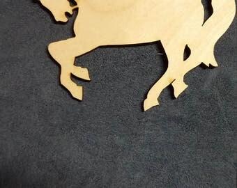 Horse prancing cutout wood
