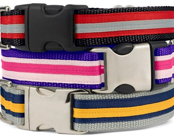 Layered Ribbon Dog Collar, Stripe Dog Collar, Stripes Dog Clip Collar, Banded Puppy Collar, Collars For Dogs, Puppy Clip Collars, SR02