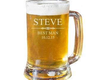 Groomsmen Beer Mug, Personalized Beer Mug, Engraved Beer Mug, Gift for Groomsmen, Beer Mugs, Wedding Favors