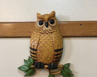 Vintage Plastic Owl Wall Hanging