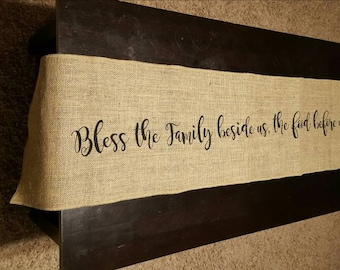 Bless Us Burlap Table Runner