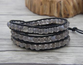 Agate Wap Bracelet 3 rows wraps bracelet Gray Agate Wap beads bracelet Leather wrap bracelet boho beaded bracelet jewelry SL-0480