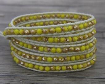 yellow crystal wrap bracelet glass crystal bead bracelet Boho bead wrap bracelet leather wrap bracelet 5 wraps bracelet Jewelry SL-0442