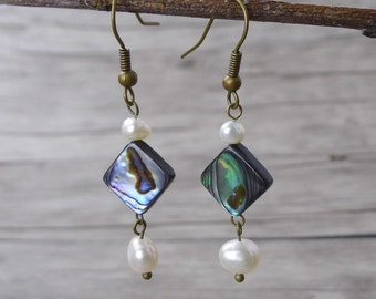 Shell Earrings Abalone Shell Earrings Plearl Earrings Bead drop earrings BOHO Dangle Earrings Abalone Earrings Abalone Shell Earrings ED-024