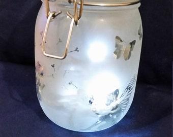 Fairy Light Jar - Frosted - Engraved - Fairy light Jar - Children's Night Light,
