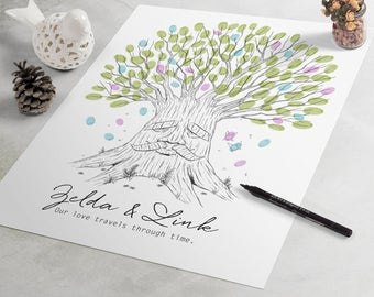 Legend of Zelda Wedding Guest Book: Deku Tree fingerprint guest book, fingerprint tree, thumbprint tree, nerdy guestbook alternative