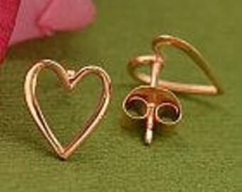 Rose Gold Open Heart Post Earrings. Item 178.