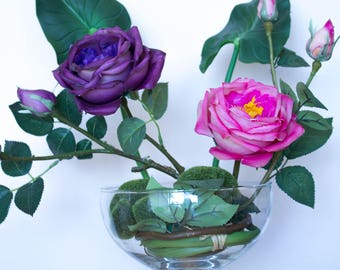 Real Touch Roses with buds Red/Yellow/Magenta/Blue Artificial Flowers/Floral Arrangement/Wedding Centerpiece/Home Decor