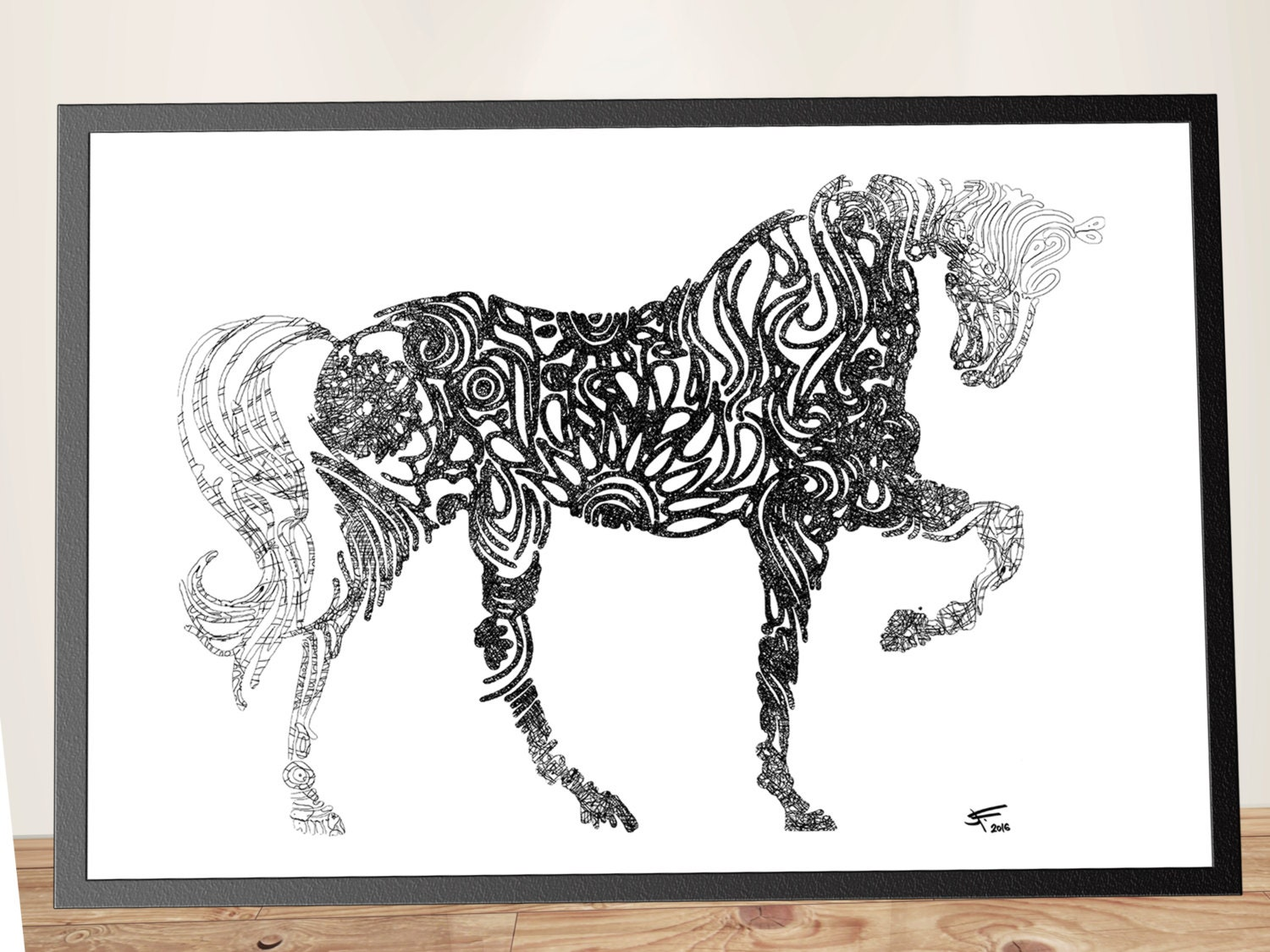 Wall Art Black Horse : Black and white horse print decor wall art