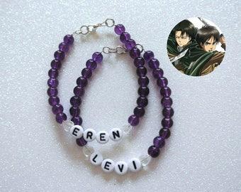 Eren & Levi OTP Bracelet Set - Attack On Titan Shingeki No Kyojin AOT SNK Ereri Eren Jaeger Levi Ackerman Anime Manga Survey Corps