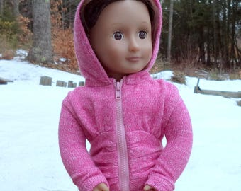 """18"""" pink hoodie, doll hoodie, pink doll hoodie, zippered pink doll hoodie, pink doll sweater hoodie, pink doll jacket, zippered pink jacket"""