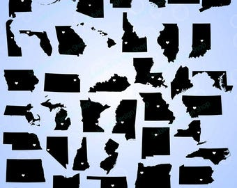 50 United States Map With Capital States With Capital Map Us Map Silhouette