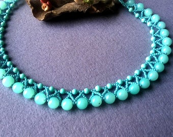 Mint Green Necklace, Mint Green Choker, Beaded Necklace Chokers, Jewelry for Wife, Handmade Necklace, Seed Bead Necklace, Mint Teal Necklace
