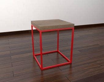 Modern side table - brown oak, black, red