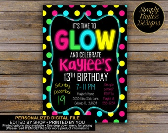 Glow Birthday Party Invitation - Glow in the Dark Birthday Party Invitation - 13th Birthday Party Invitation