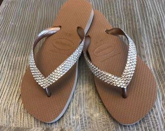 Metallic Havaianas flip flop hand embellished with Swarovski Crystals