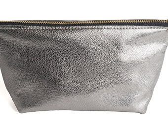 Hermosa Ave - Silver - Flat Bottom Makeup Bag, Leather Clutch, Leather Makeup bag, Makeup pouch, Makeup Accessory Pouch, SHIPS FREE