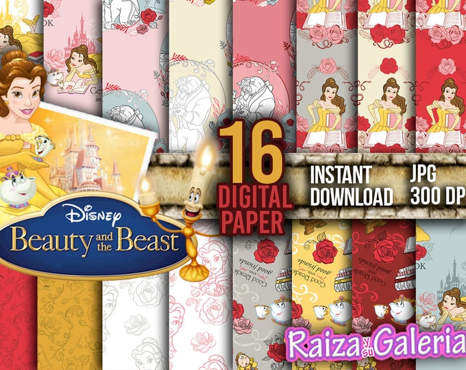 AWESOME Disney Beauty and the Beast Digital Paper. Instant Download - Scrapbooking - Beauty and the Beast Printable Paper Craft!