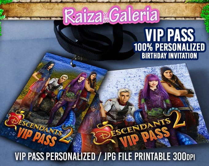 VIP Pass Invitation Disney Descendants 2 - We deliver your order in record time!, less than 4 hour! BEST VALUE - Descendants 2 Party